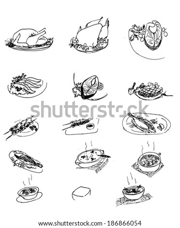 Pencil drawing of elements of dinner menu for restaurant and cafe: roast beef, chicken, fish, etc. - stock photo