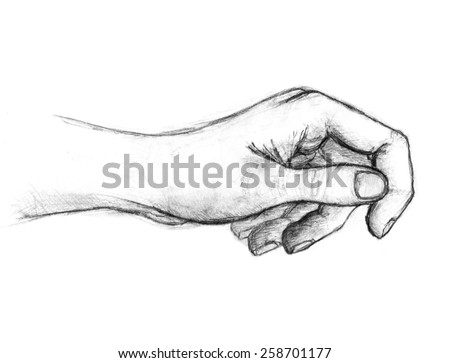 Pencil drawing of hand, isolated on white background