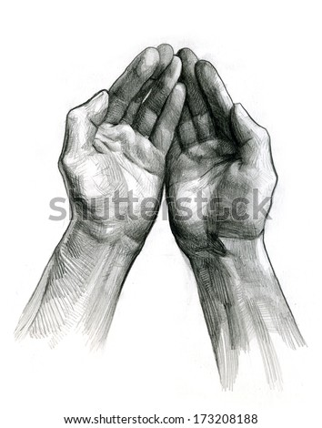 pencil drawing of hands open - stock photo