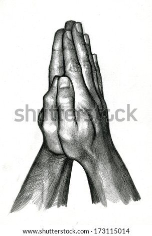 pencil drawing of Human Hands in Praying - stock photo