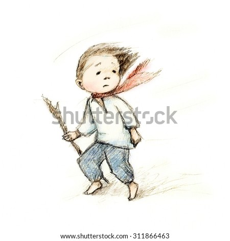 pencil drawing of little boy at the wind