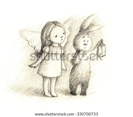 pencil drawing of little fairy and bunny