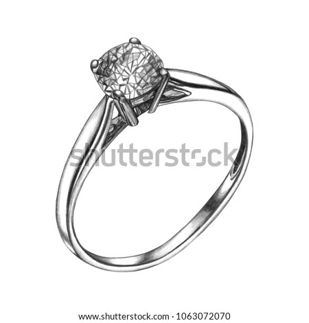 pencil drawing ring diamond isolated sketch stock