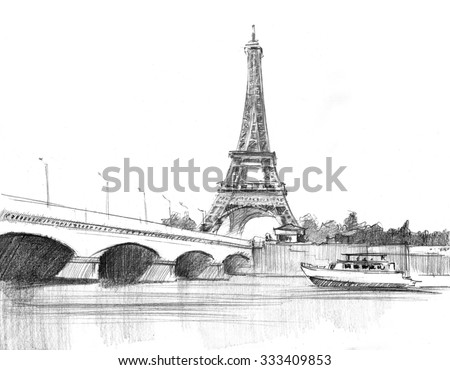 Pencil drawing cathedral eiffel tower paris stock illustration pencil drawing of the cathedral of eiffel tower in paris against bridge altavistaventures Choice Image