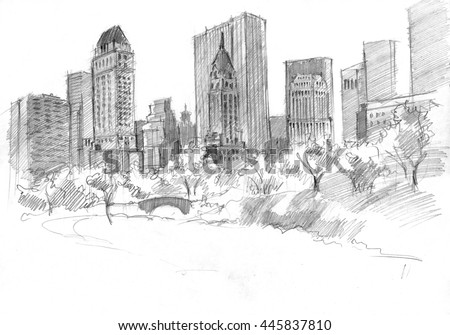 Pencil drawing of the central park nyc usa