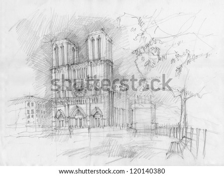 Pencil drawing of the historic facade of Notre dame, Paris - stock photo