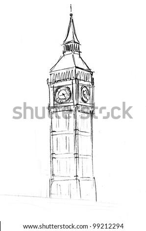 London Clock Drawing Pencil drawing of the palaceLondon Clock Tower Drawing