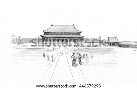 Pencil Drawing Of The Tienanmen Square Beijing China
