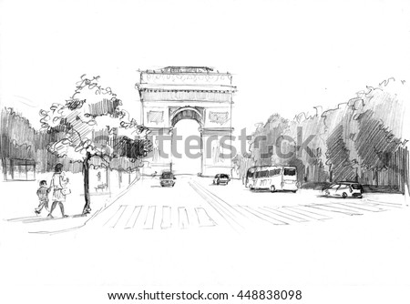 Pencil drawing of the triumphal arch and avenue with traffic and pedestrians, Paris