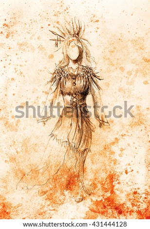 pencil drawing on paper, indian woman and feathers and arrow in hair. Color effect. - stock photo