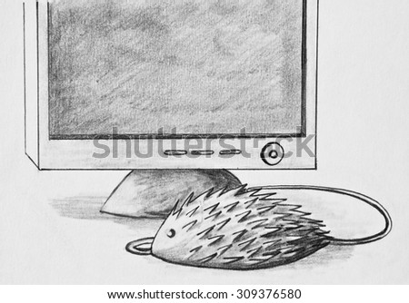 Pencil drawing. Optical hedgehog and monitor - stock photo