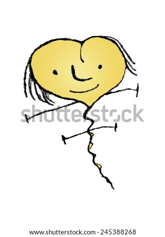 Pencil drawing technique raster illustration fantasy cute heart shaped character flying with happy expression isolated in white background. - stock photo
