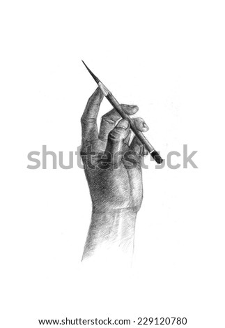 pencil drawingPencil drawing of hand and pencil on white background. - stock photo