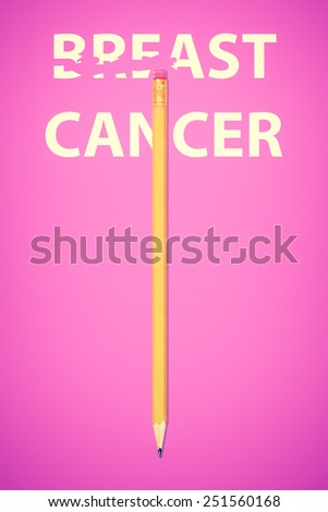 Pencil erasing the words BREAST CANCER on a pink background - stock photo