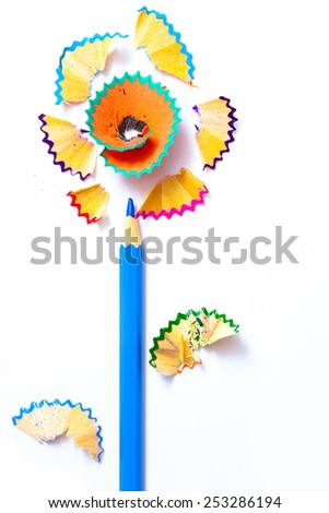 pencil flower with pollen from the lead. copy space - stock photo