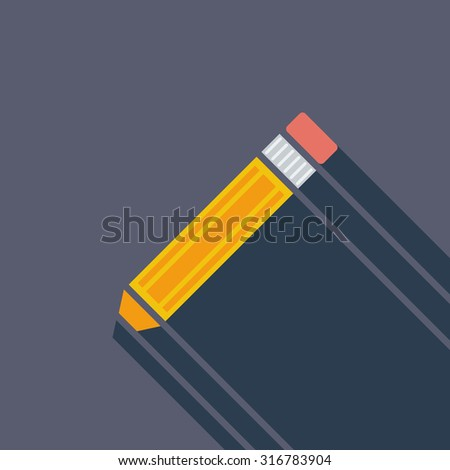 Pencil icon. Flat related icon with long shadow for web and mobile applications. It can be used as - logo, pictogram, icon, infographic element. Illustration.