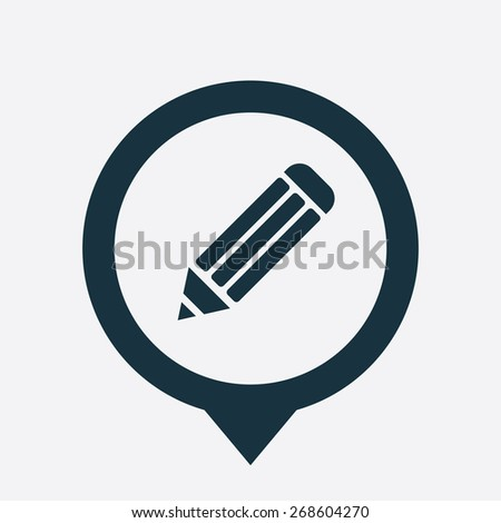 pencil icon map pin on white background  - stock photo