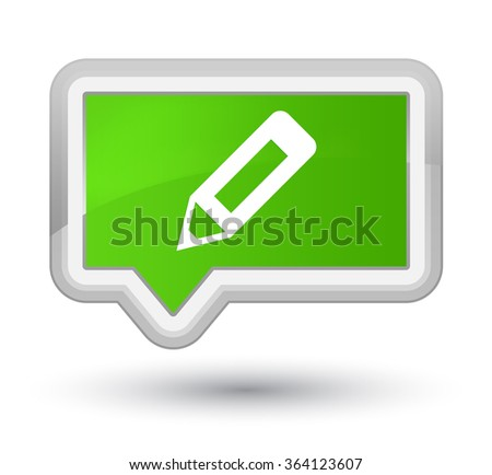 Pencil icon soft green banner button