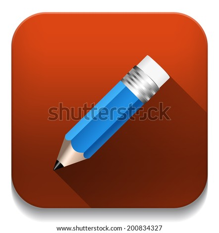 pencil icon With long shadow over app button