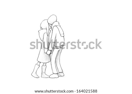 Pencil Illustration, Drawing of Young Couple in Love | High Resolution Scan, Decent Copy Space - stock photo