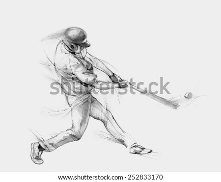Pencil illustration, hand graphics - Baseball player strikes the ball - stock photo