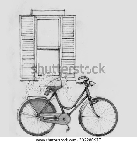 window pencil drawing. pencil illustration, hand graphics - old window and bicycle drawing
