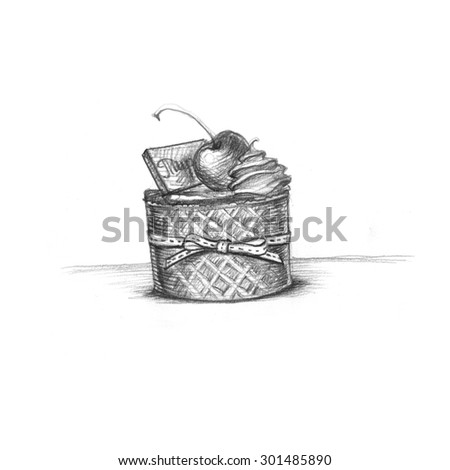 pencil illustration of cake with cherries and cream