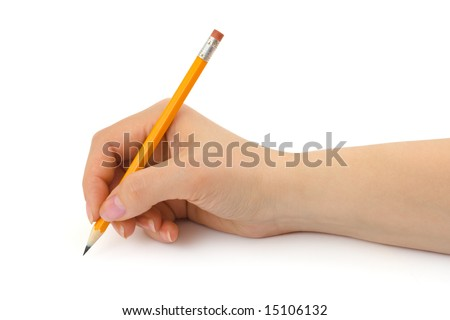 Pencil in woman hand isolated on white background - stock photo