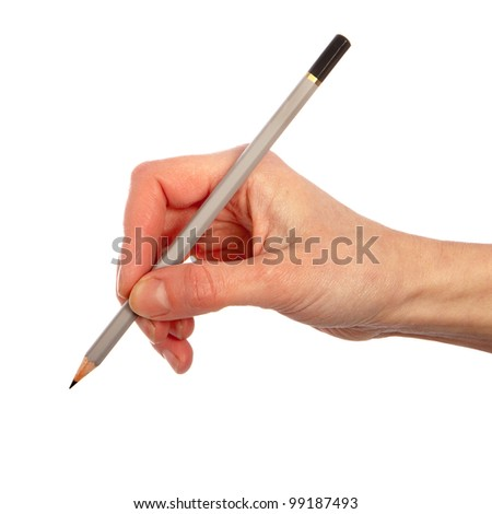 Pencil in woman hand isolated on white background