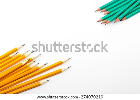 pencil in yellow, green, silver color, pen - stock photo