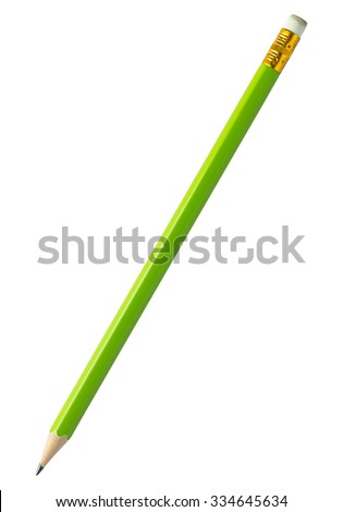 pencil isolated on white with clipping path - stock photo