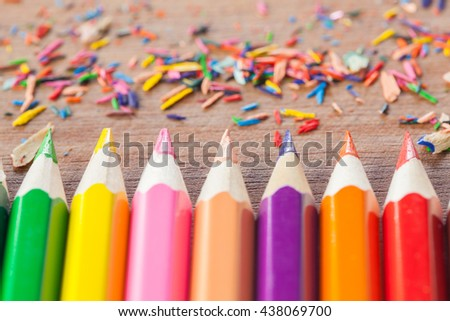 Pencil lead,Colorful pencil selective focus - stock photo