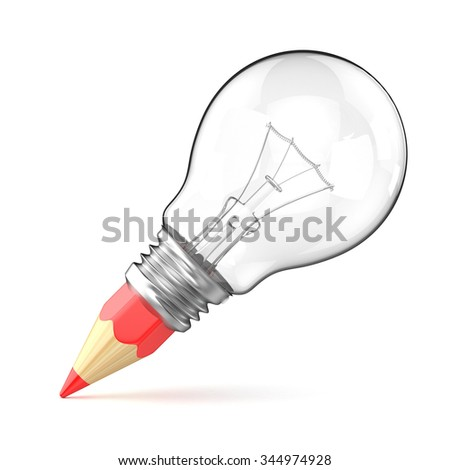 Pencil light bulb as creative concept. 3D render illustration isolated on white background - stock photo