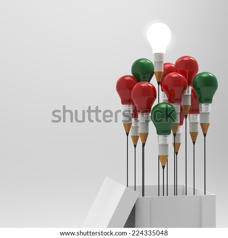 pencil light bulb 3d as think outside of the box and merry's christmas as concept  - stock photo