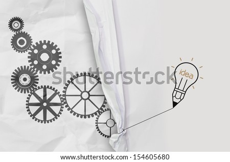 pencil lightbulb draw rope open wrinkled paper gear of success as concept - stock photo