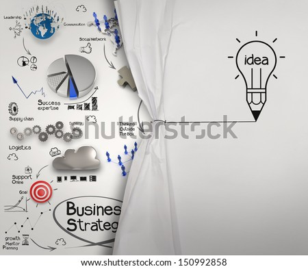 pencil lightbulb draw rope open wrinkled paper show business strategy as concept - stock photo