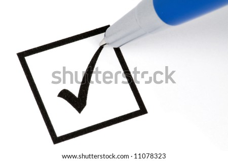 Pencil making a check sign in a square box. Isolated on white. - stock photo
