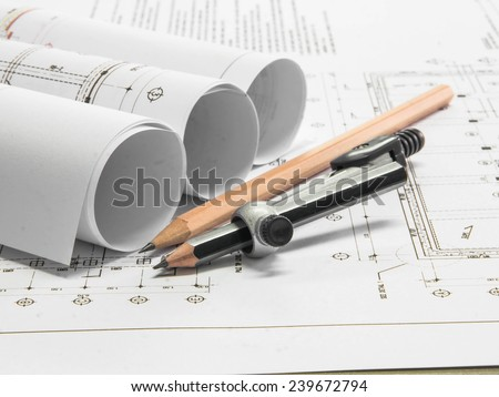 pencil no architectural blueprint of office building out of focus - stock photo