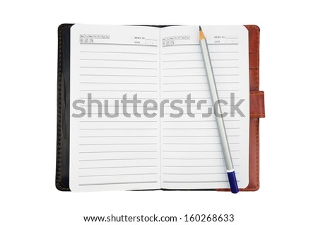 pencil on a blank notebook isolate on white background