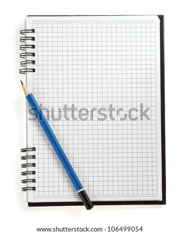 pencil on checked notebook isolated on white background - stock photo