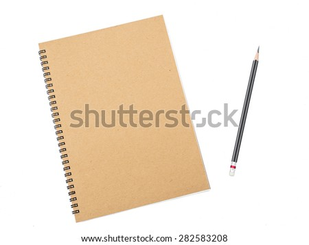 Pencil on ring binding notebook with recycle brown paper for cover page, Isolated on white background  - stock photo