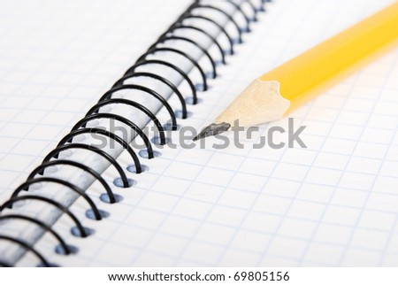 Pencil on Ring Bound Notebook - stock photo