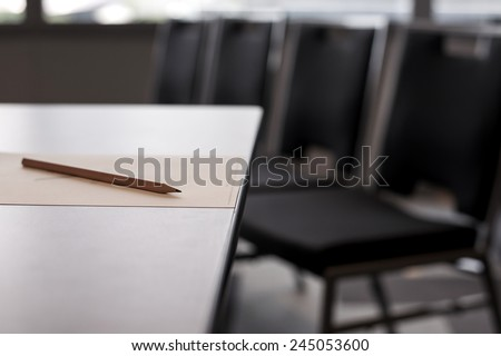Pencil on table shallow depth - stock photo