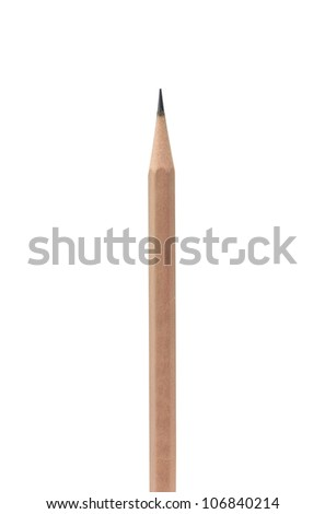 pencil on white background (clipping path) - stock photo