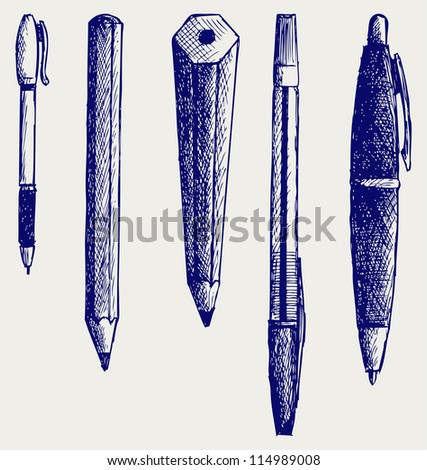 Pencil, pen and fountain pen icons. Raster version - stock photo