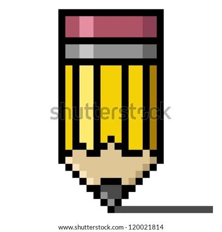 Pencil Pixel art; Education concept - stock photo