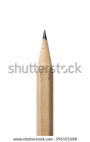 Pencil point closeup on white background