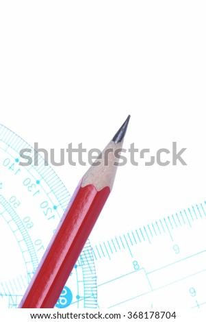 Pencil protractor and ruler transparent on white background - stock photo
