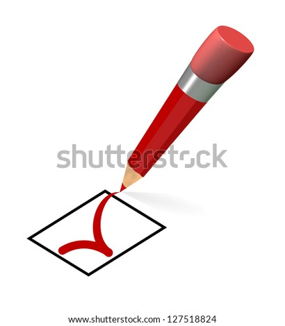 pencil red check box agreement - stock photo