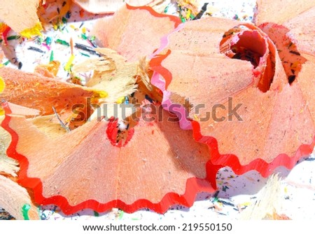 pencil remnants after working with the penknife at school - stock photo